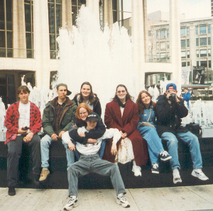 All of us in front of a fountain