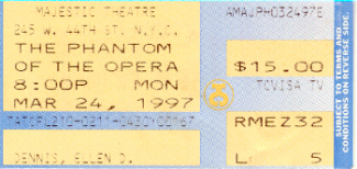 Phantom of the Opera ticket